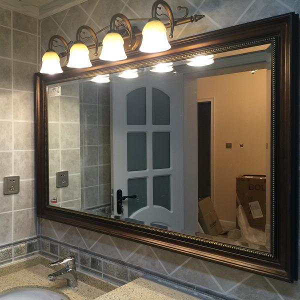 防水防爆美式镜子镜复古做旧欧式浴室柜浴室厕所卫生间壁挂大镜子