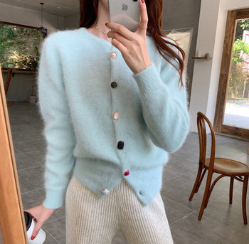 2020 Korean order ins popular models retro round neck color buckle solid color wild mink sweater sweater