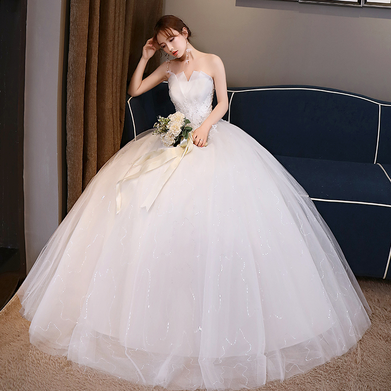f3823a9443a Light wedding dress 2019 new bride wedding tube top Princess trailing thin  court simple Sen Department · Zoom · lightbox moreview · lightbox moreview  ...