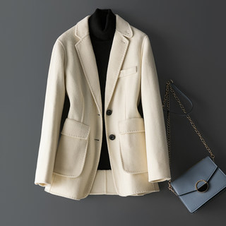 Spring 2021 white suit jacket women winter double-faced wool double-faced cashmere coat women short jacket
