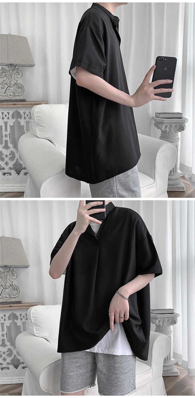 C2027/P35新款夏季男士立领衬衫男韩版宽松休闲大码短袖衬衣上衣