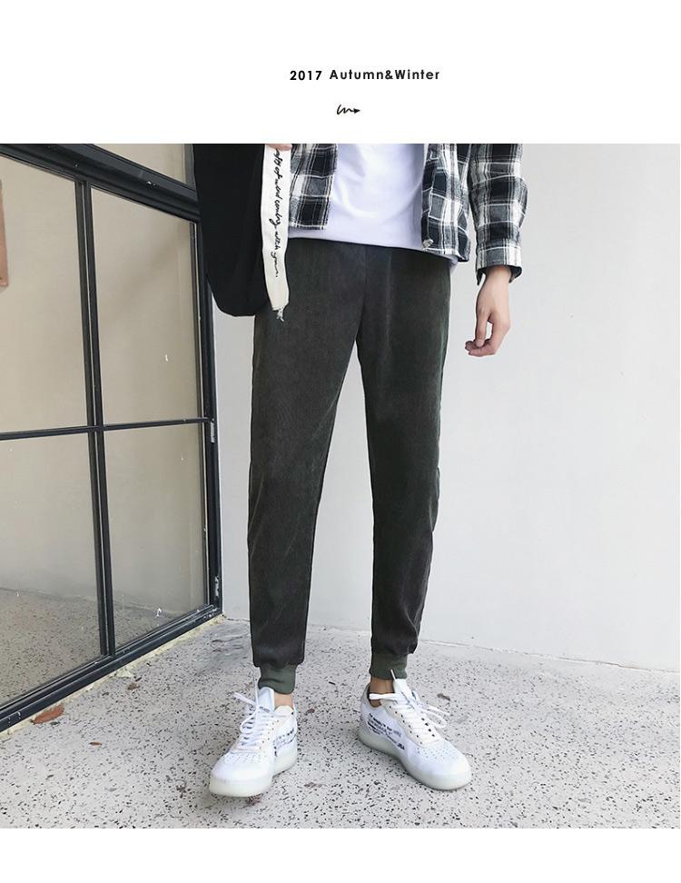 K53/P35春装新款灯芯绒休闲裤男士卫裤长裤束脚裤大码哈伦潮小脚