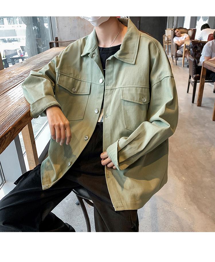 2020春装新款 宽松版纯色夹克男士翻领上衣外套 M130/P68 控价88