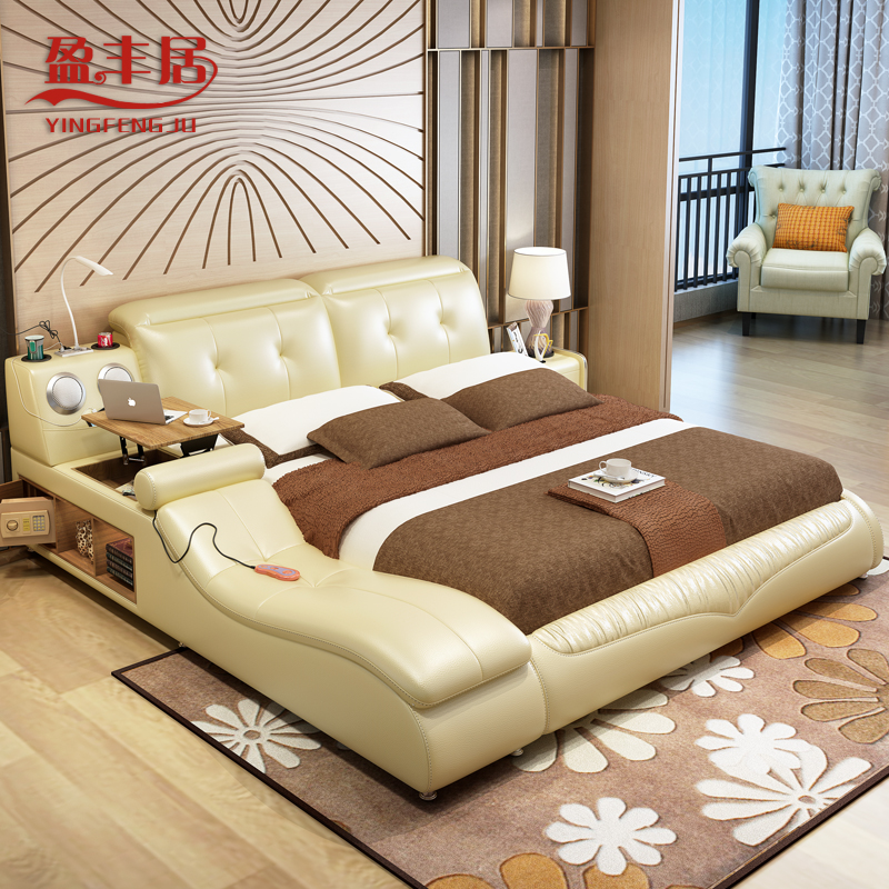Tatami leather bed safe pneumatic massage multifunctional Master bedroom multifunctional tatami bed