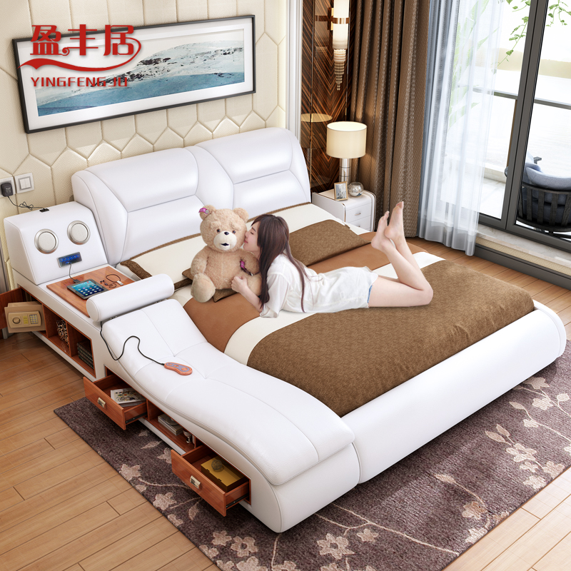 Smart Tatami Master Bedroom Multifunctional Leather Bed Modern Wedding Bed 1 8 M Size Type