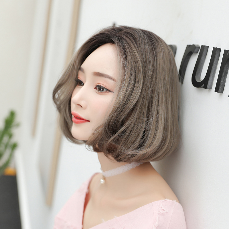 Wig Short Hair Bobo Head Korean Wave Curly Natural Fluffy Net Red Whole Sleeve
