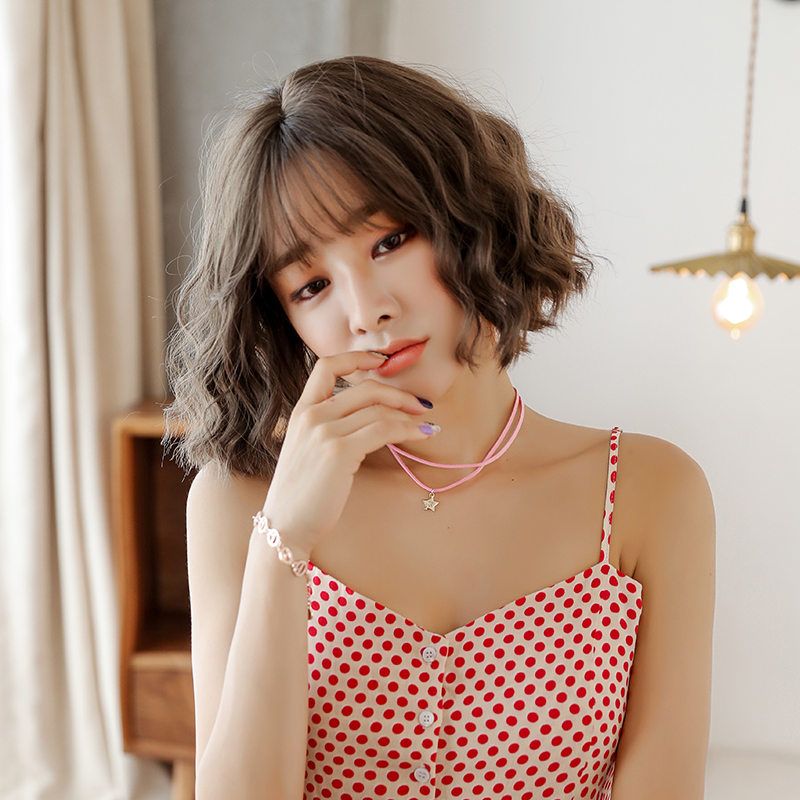 Wig Woman Short Curly Hair Corn Hot Bobo Korean Bobo Head Handsome Net Red Round Face Bubble Face Curly Hair Sleeve