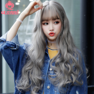 South Korea lady wig long curly hair, air, corn, hot hair, long hair, fluffy, vivid, instant noodles, roll and wig