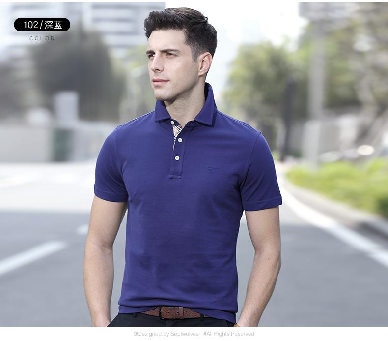 Bảy con sói ngắn tay t-shirt nam 2018 mùa hè mới polo áo sơ mi nam cotton loose từ bi của nam giới xu hướng BO