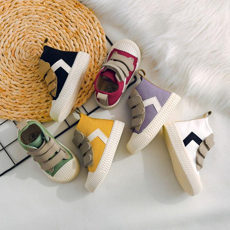 TS2020秋季款儿童帆布鞋韩版男女童鞋高帮百搭魔术贴软底宝宝鞋