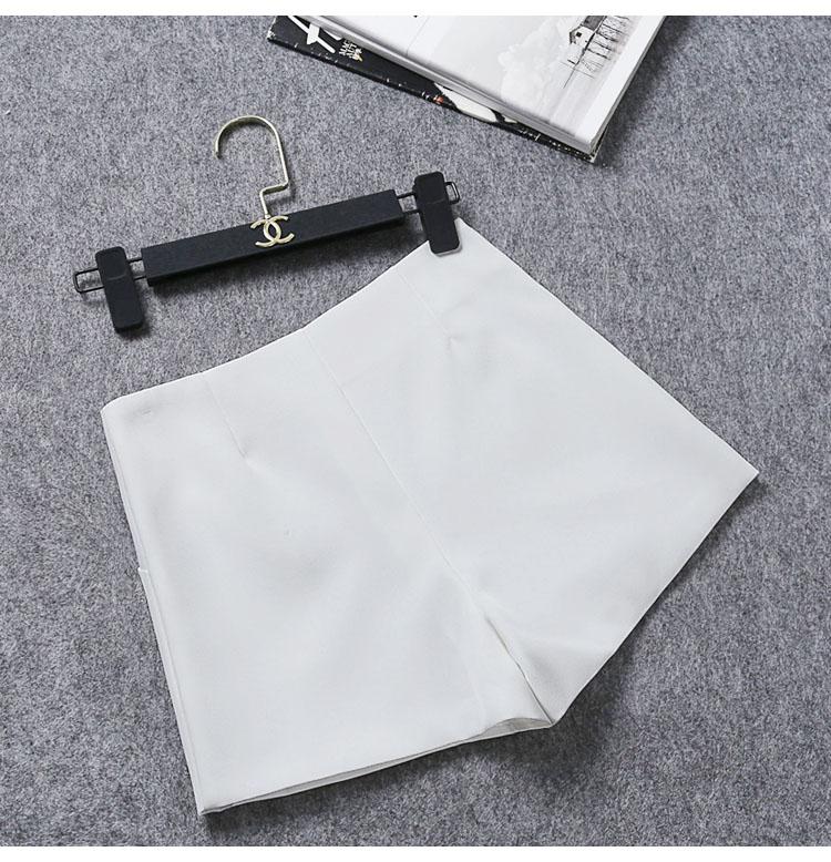 短裤女新款高腰外穿夏宽鬆显瘦休閒雪纺字阔腿黑色西装短裤详细照片