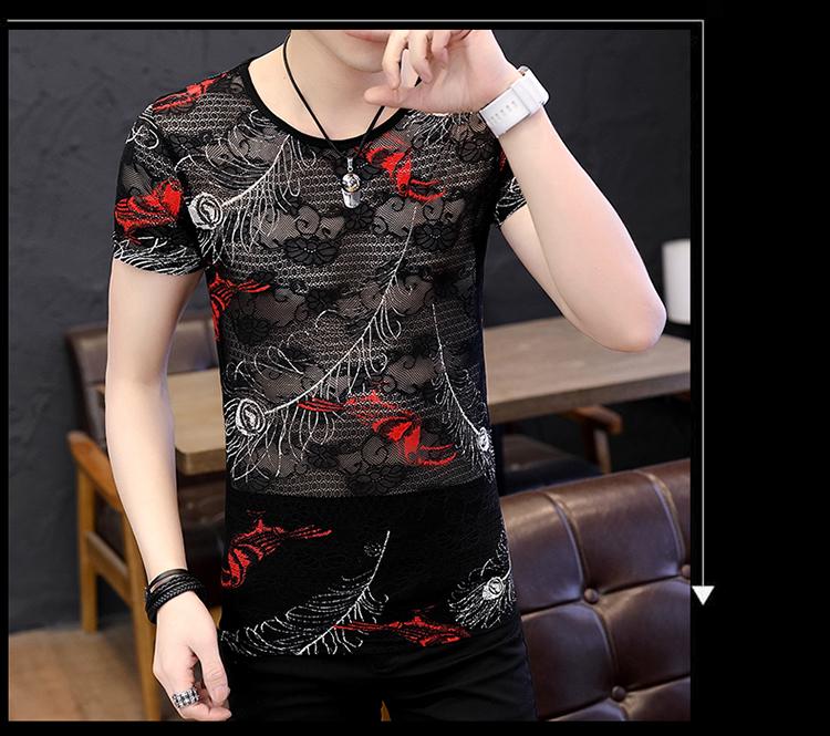 Summer man thin t shirt men streetwear hollow breathable lace short sleeve t-shirt men t shirts camiseta shirt homme camisetas 27
