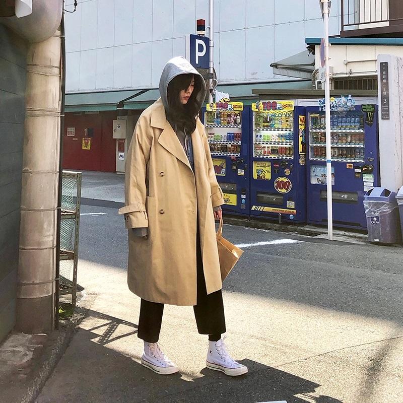 【咕噜喔】自制复古日系宽松bf风oversize卡其色外套长款工装风衣