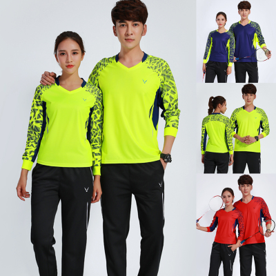 18 authentic autumn and winter quick-drying table tennis badminton wear long-sleeved pants suit men and women V-neck sports casual clothing