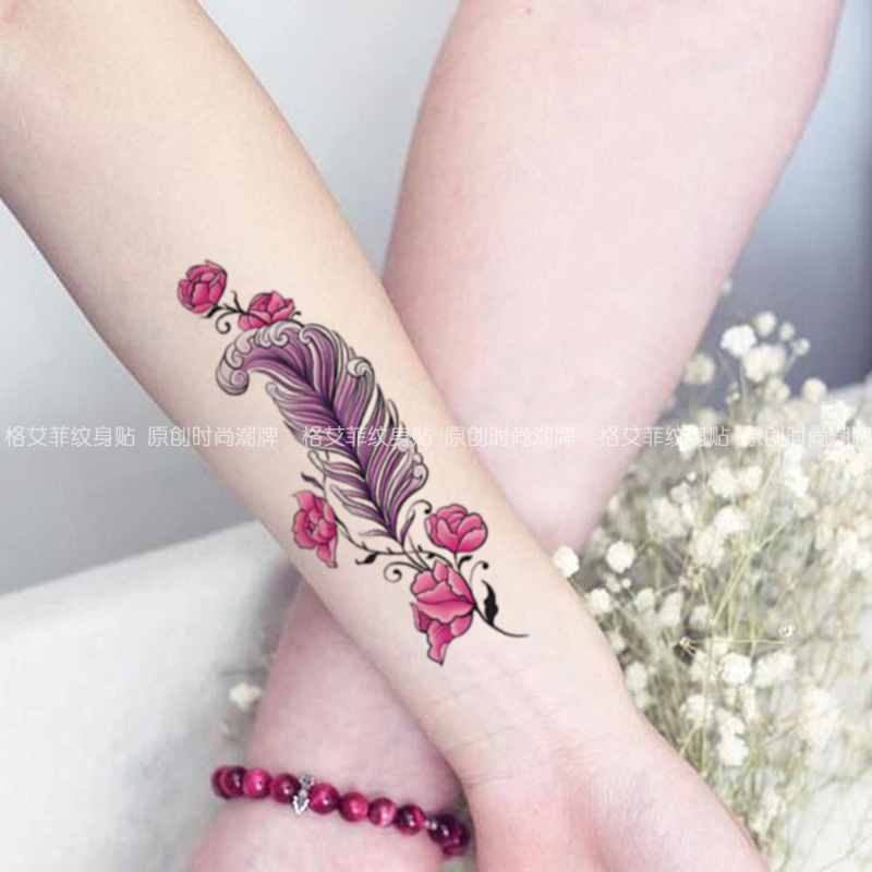 3bcd6fc77 Ge Feifei feather rose caesarean section tattoo stickers waterproof  concealer waterproof female vertical sexy simulation tattoo