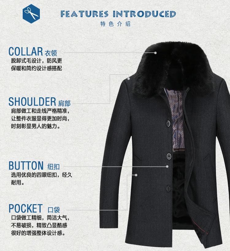 Mùa thu và mùa đông trung niên của nam giới áo len nam kích thước lớn dài áo len trung niên dày len áo gió