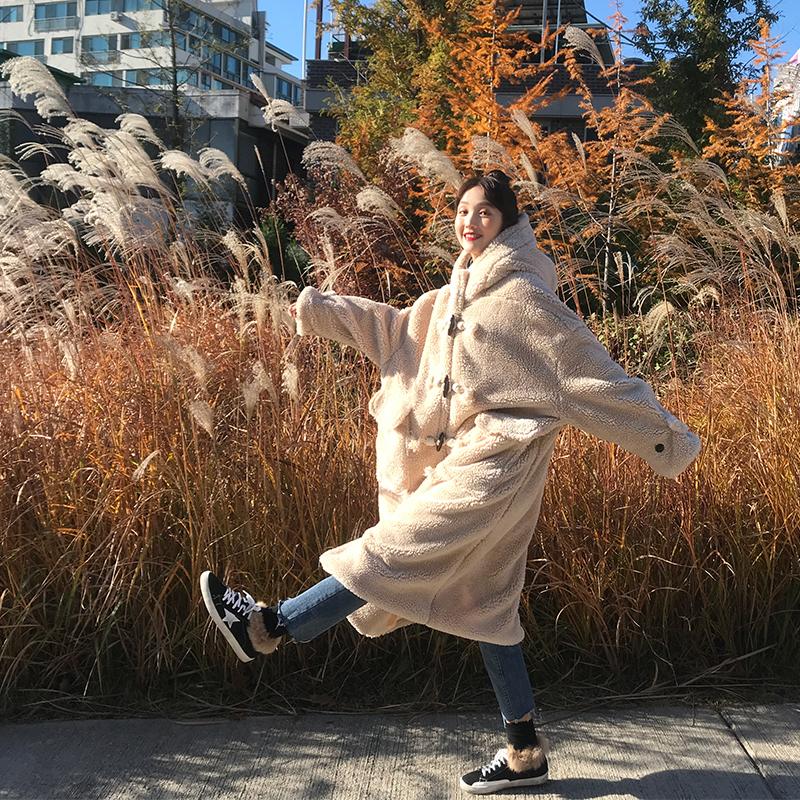 馨帮帮 自制冬季韩版ifashion中长款羊羔毛连帽牛角扣外套棉服女