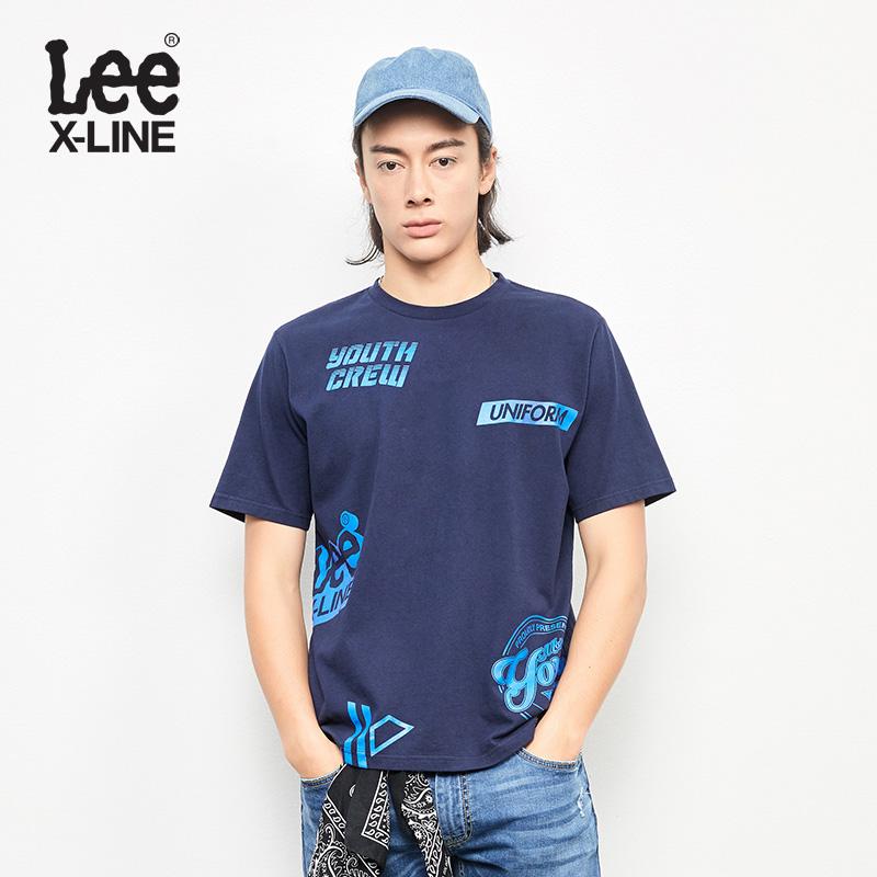 Lee Nam 2018 Mùa Xuân và Mùa Hè Mới X-LINE Màu Xanh Hải Quân Ngắn Tay Áo T-Shirt L319182LQB8D