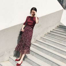 Long skirt female 2018 spring and summer new two-piece suit ins super fire vacation skirt high waist chiffon floral dress