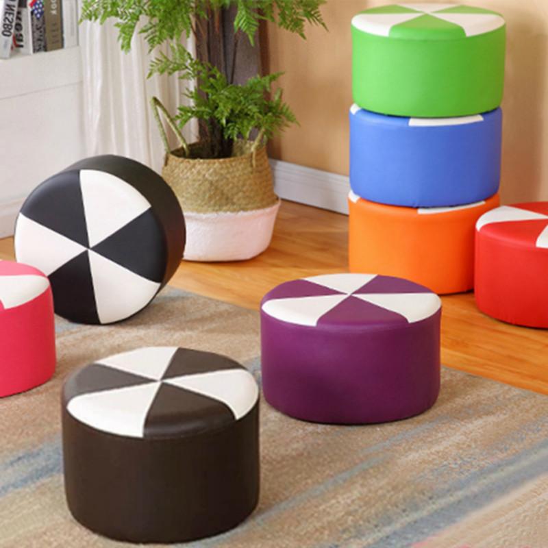 皮圆凳创意沙发板凳小凳子时尚皮墩实木换鞋凳家用凳子凳小客厅