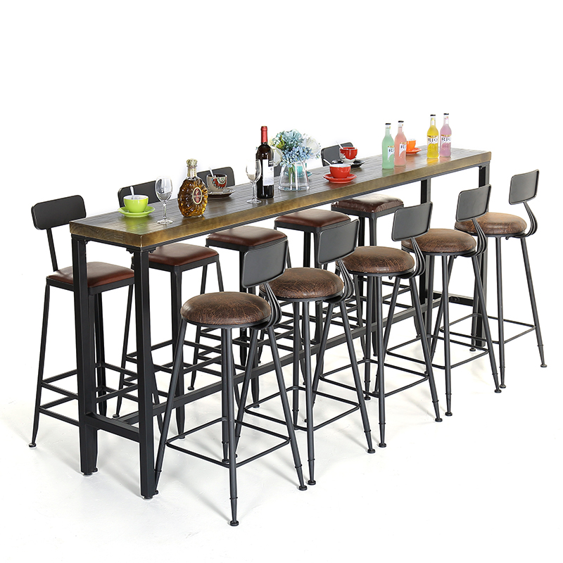 Industrial Wind Wrought Iron Wood Home Bar Stools Table Cafe Table Bar  Tables And Chairs Modern Minimalist High Long Table