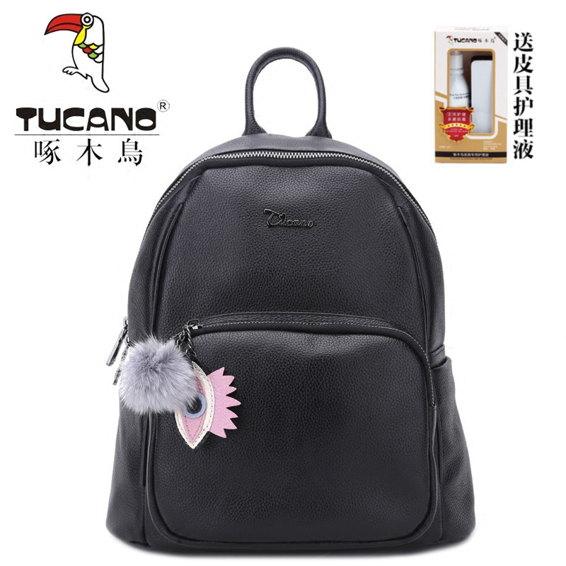 Woodpecker leather cowhide shoulder bag 2018 new fashion solid color casual  simple lady soft backpack large 9805c3aa67