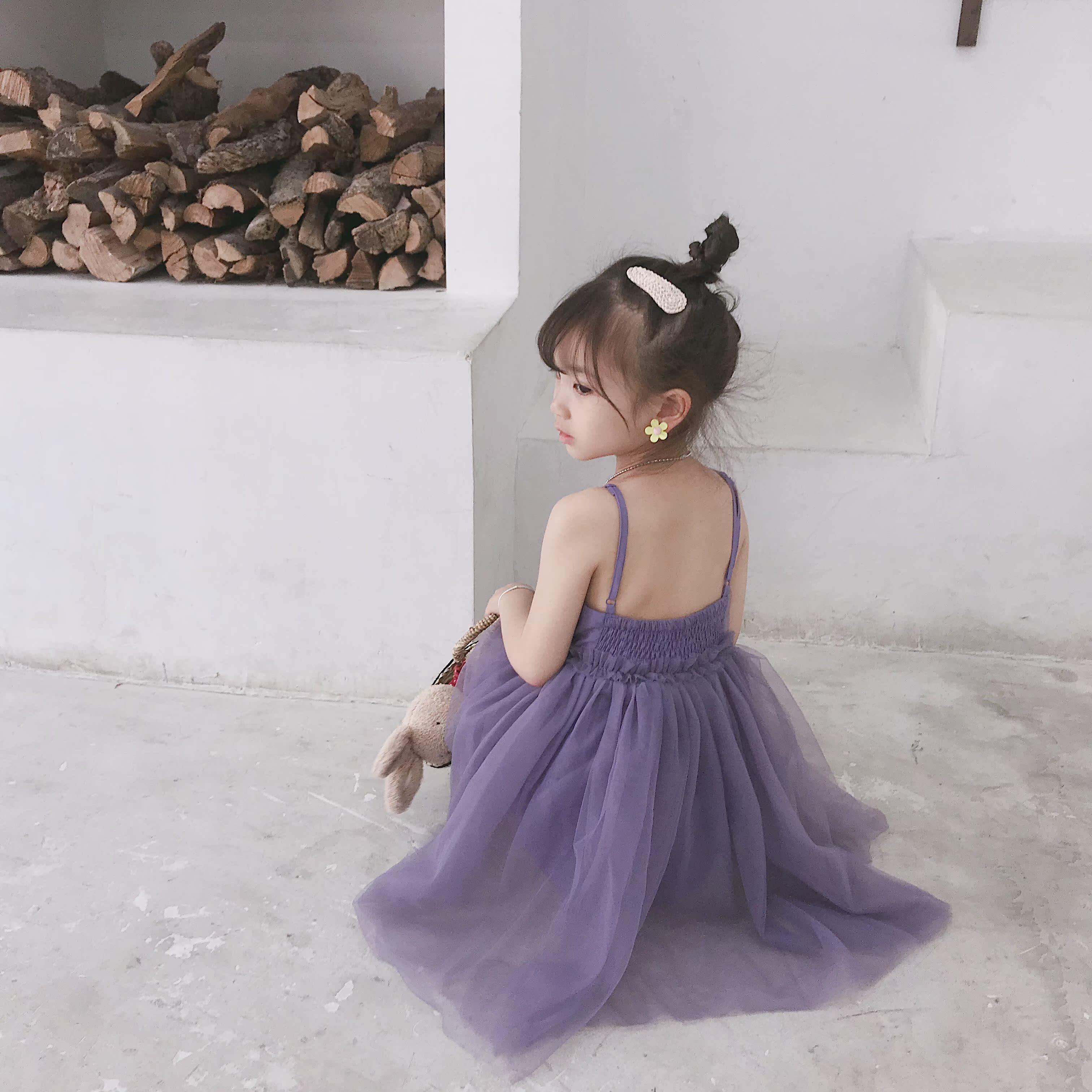 女童韩版童装纱裙吊带纯色夏季仙气露背性感网纱连衣裙429