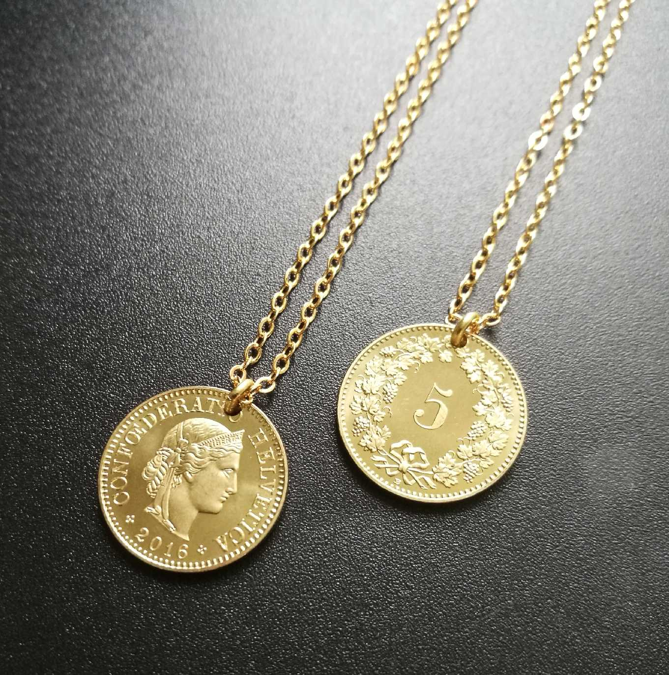 Guardian Goddess Europe And America Ins Gold Coin Necklace Pendant