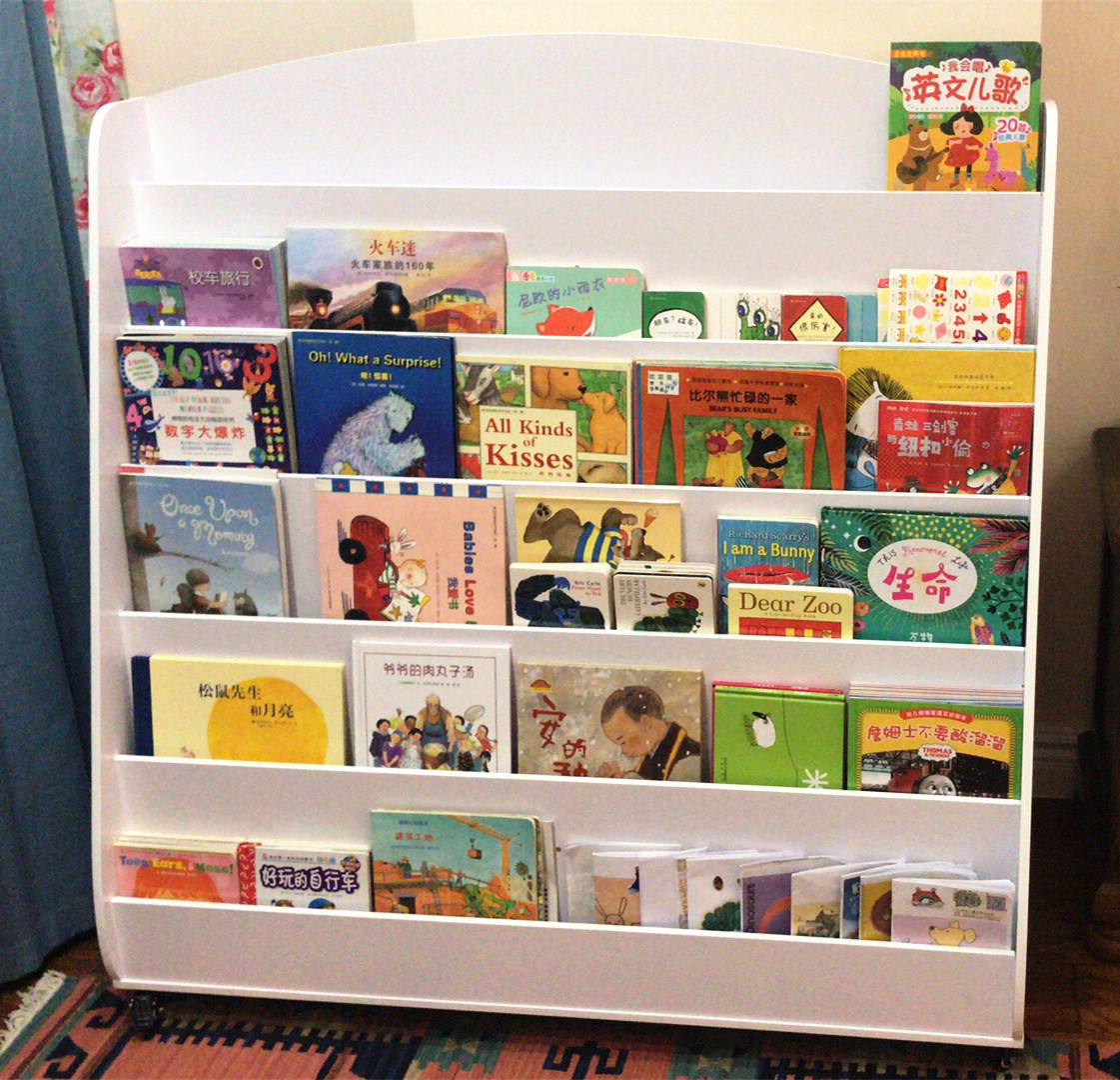 Large Childrens Picture Frame Baby Bookshelf Library Kindergarten Magazine Rack Display Bookcases With Wheels Bookcase