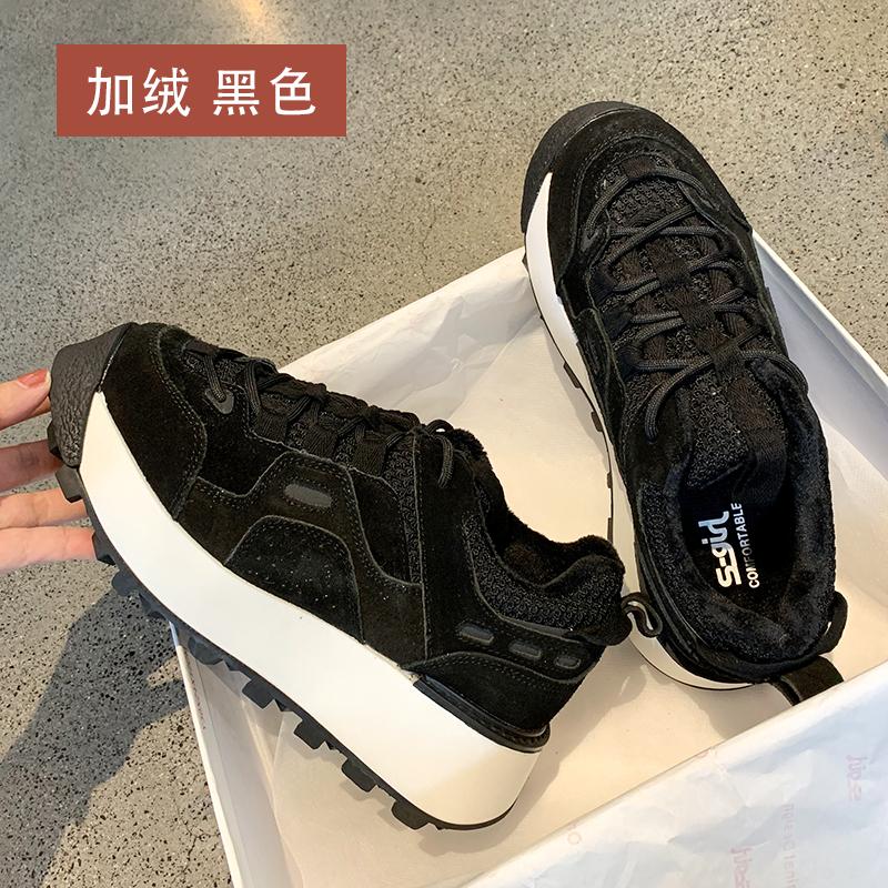 墨染·S-GIRL黑色chic香港運動鞋女秋冬款網紅百搭時尚休閒厚底松糕鞋潮