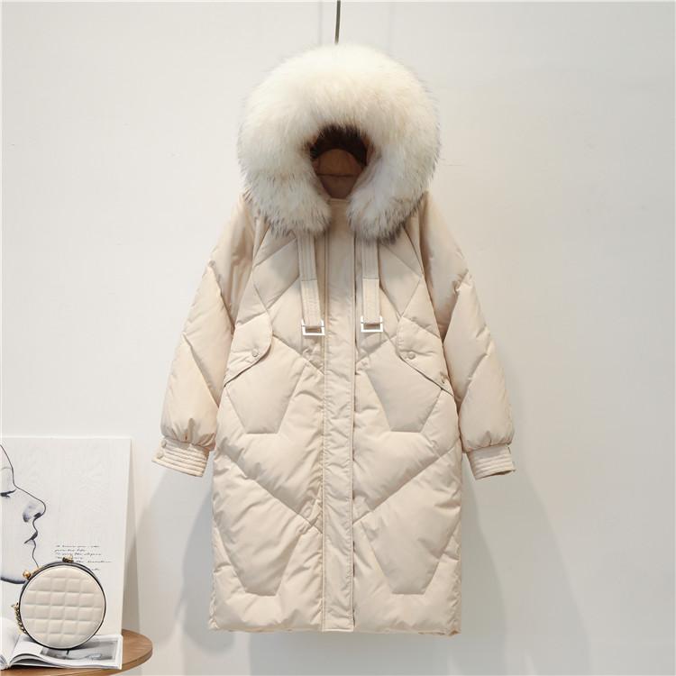 反季2019新款韩版宽松羽绒服女中长款大毛领加厚东大门网红白鸭绒