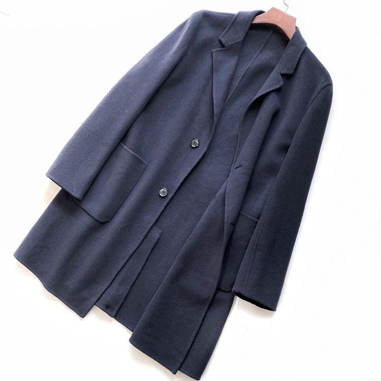 Áo khoác nam mùa thu và mùa đông Hàn Quốc áo len nam dài hai mặt - Áo len