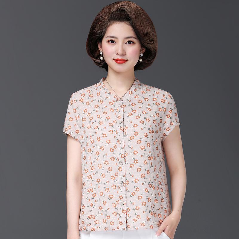 中老年妈妈时尚女夏季新款50岁纯棉装短袖小衫中年人衬衫衬衣女装