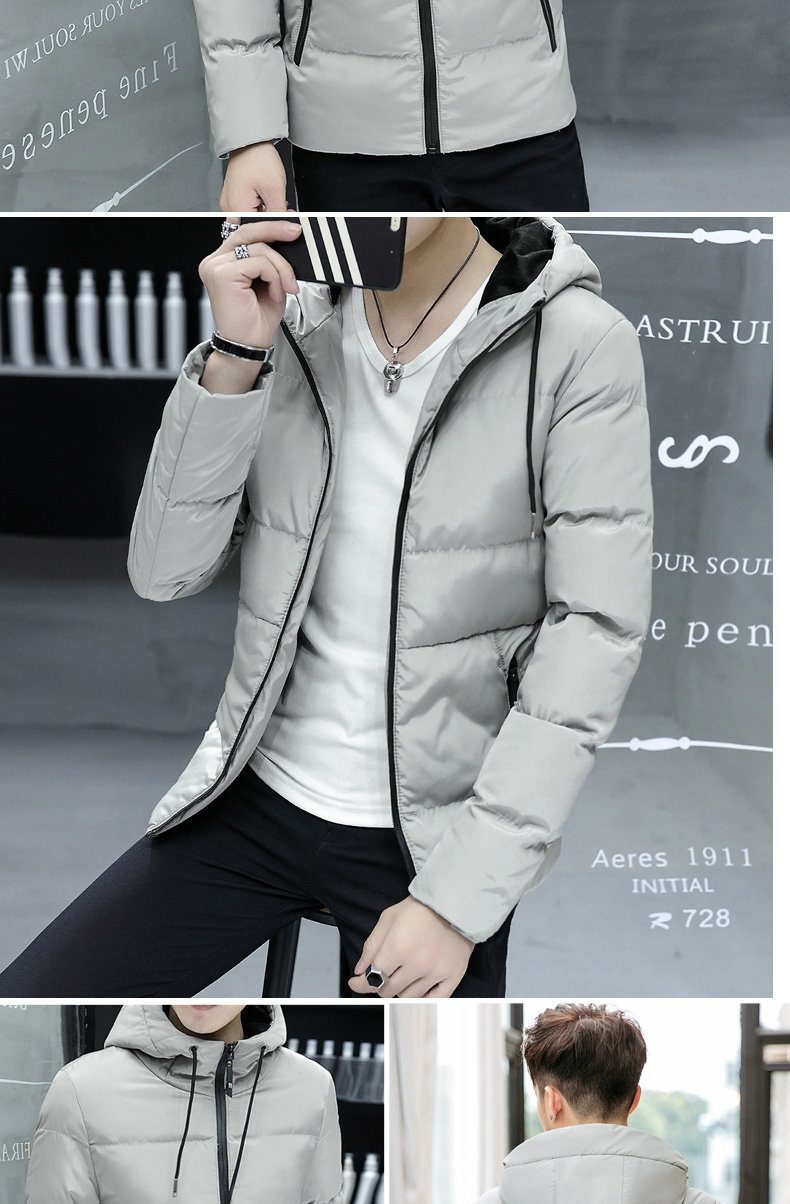 Ready Stock Autumn Winter Korean Men Zipper Cardigan Cotton Padded Fashion Casual Parka Down Coat Hooded Specifications Of Jacket Slim Fit Long Sleeve Black