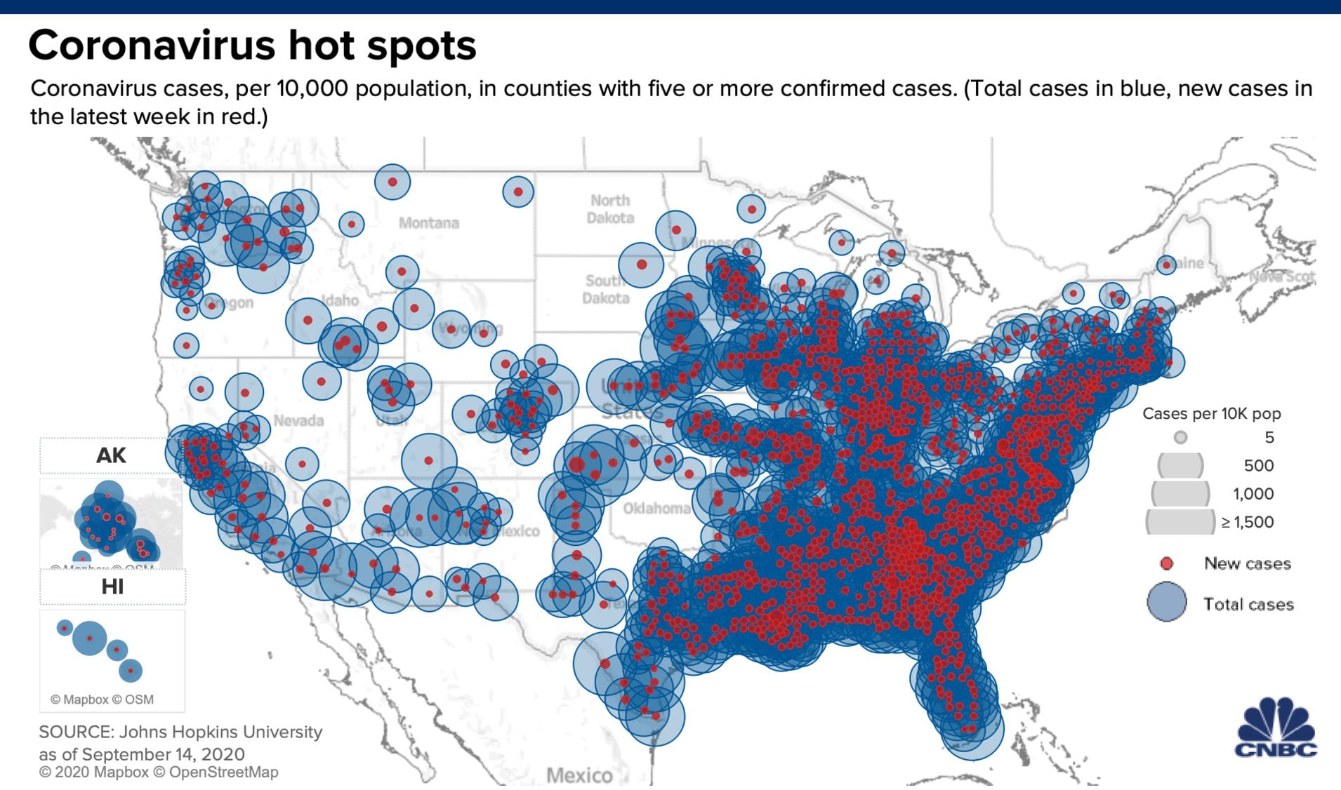 美国新冠肺炎疫情形势,美国疫情热点地区分布,最新消息,趋势图,新政确诊病例数据,各州数据,新冠肺炎疫情新闻报道,美国疫情形势,约翰斯霍普金斯大学汇编的数据