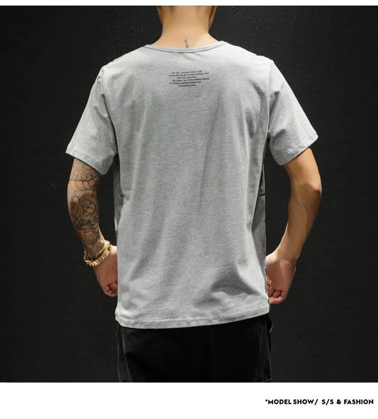 2019夏季新款网格风日系大码休闲原创印花男短袖T恤M-5X T122-P30