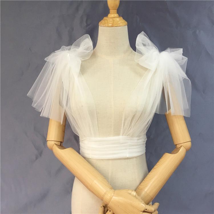 凯蒂 新款新娘婚纱披肩配饰双肩系蝴蝶结活动肩带马甲披肩多穿法