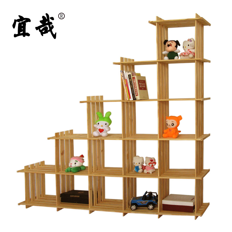 Yi Zai Solid Wood Bookshelf Pine Oblique Fifteen Lattice Trapezoidal Display Rack Cabinet Partition