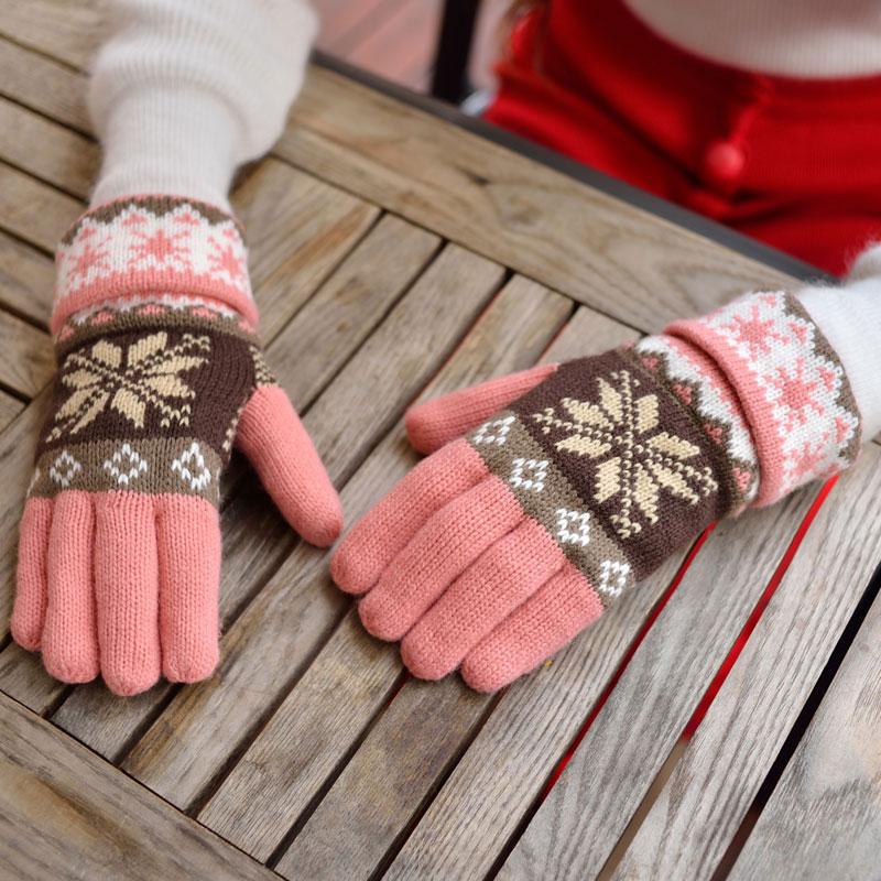 秋冬季女手套女冬可爱韩版半指学生加厚保暖针织毛线露指甜美百搭