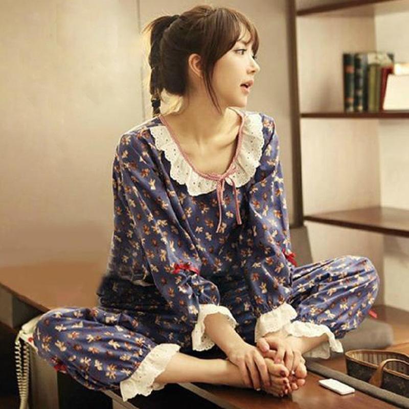 春秋季新款气质条纹女人睡衣七分袖薄款针织小透视性感家居服套装