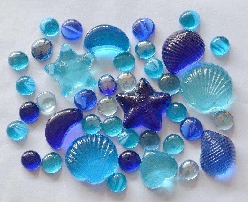 Гидрогель Синее Средиземное море стеклянные каменные раковины морская звезда полумесяц стекла плоские бусины аквариум камни синь моря камушки на продажу