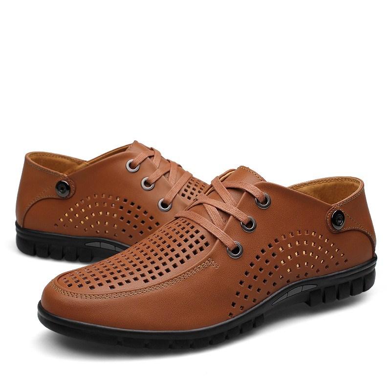 就挣信誉透气男士编织休闲皮鞋镂空洞洞鞋夏季凉鞋白色大码小码37