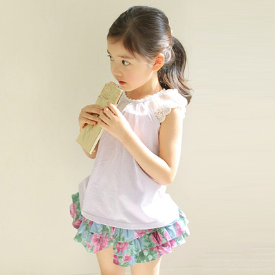 Special summer new Korean children's wear girls super-lace lace collar sweater children's vest