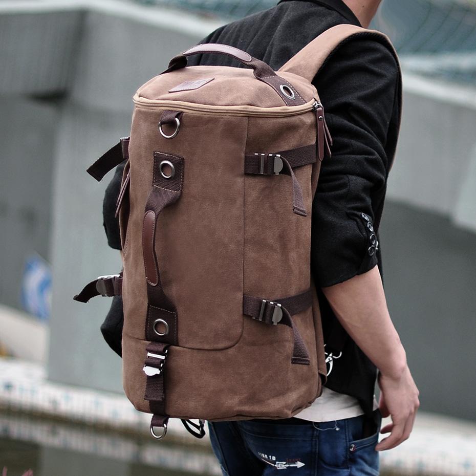 双肩包男韩版户外v学生学生双肩男士背包大容量圆桶包背包背包帆布