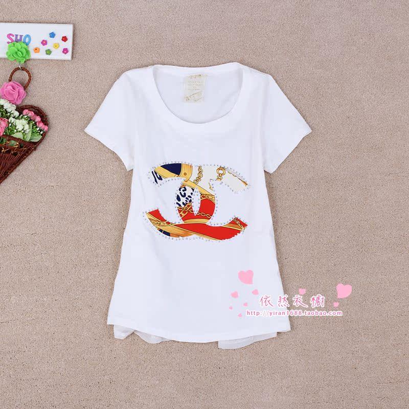2015夏季新款韩版女装圆领白色夏装短袖宽松钉珠黑色纯色T恤6016