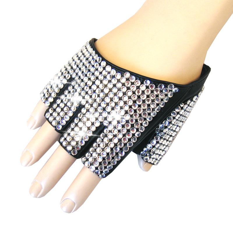 Перчатки Для мужчин и женщин искусственной кожи половина ладони с короткими пальцами перчатки без пальцев ДС показывают, ночной клуб бар хип-хоп шоу украшают бриллианты певицы перчатки