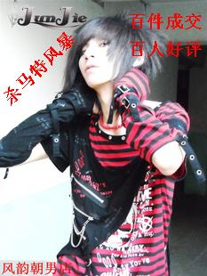 杀马特衣服日韩涂鸦骷髅服饰非主流男装短袖潮式T恤上视觉系铆钉