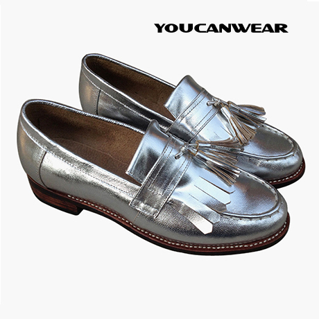 春秋季时尚平底单鞋女潮真皮圆头金色银色内增高女鞋中跟小皮鞋女