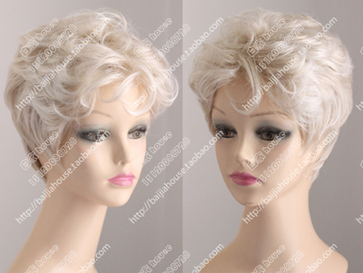 taobao agent Wig Mori girl European and American fashion short curly hair Moonlight white light blonde curly bangs Mother middle-aged and old fluffy