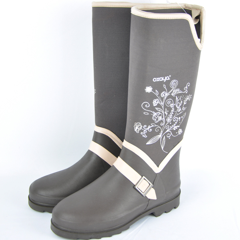 09d3bb1fd New French oxaya shoes gray breathable rain boots cattle brown flowers high  tube rain shoes ladies water shoes